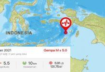 Gempa Bumi Magnitudo 5,5 Guncang Maluku Tenggara, Tak Berpotensi Tsunami